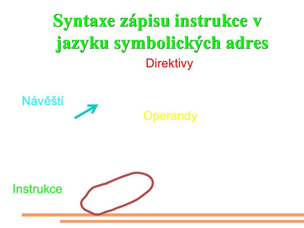 Syntaxe zápisu instrukce v jazyku symbolických adres.def vzorek=r17.def cykly=r25 rjmp main main:LDI W,$00 out DDRD,w;a portD vstupním LDI w,$FF out DDRB,w ;učinit celý portB výstupním out portD,W;pullUPy LDI W,LOW(ramend) ;natáhnout konec ram Direktivy Návěští Instrukce Operandy Komentář