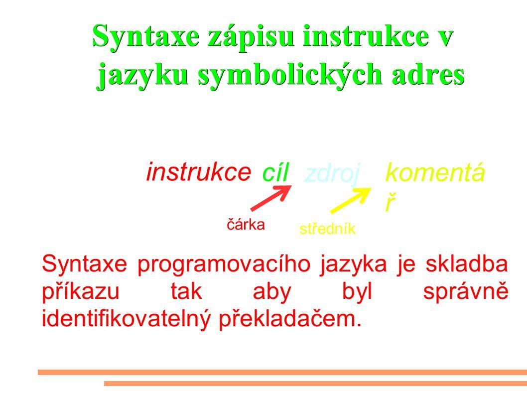 Syntaxe zápisu instrukce v jazyku symbolických adres Syntaxe programovacího jazyka je skladba příkazu tak aby byl správně identifikovatelný překladačem.