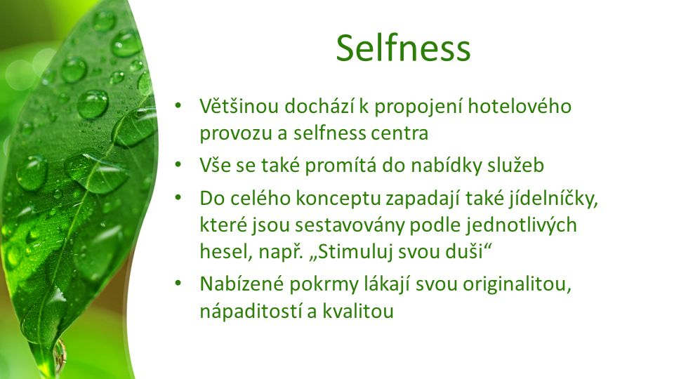 Selfness Většinou dochází k propojení hotelového provozu a selfness centra Vše se také promítá do nabídky služeb Do celého konceptu zapadají také jídelníčky, které jsou sestavovány podle jednotlivých hesel, např.