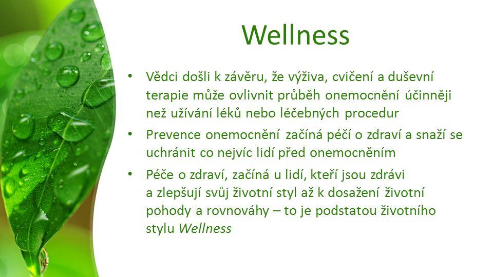 Wellness Vědci došli k závěru, že výživa, cvičení a duševní terapie může ovlivnit průběh onemocnění účinněji než užívání léků nebo léčebných procedur Prevence onemocnění začíná péčí o zdraví a snaží se uchránit co nejvíc lidí před onemocněním Péče o zdraví, začíná u lidí, kteří jsou zdrávi a zlepšují svůj životní styl až k dosažení životní pohody a rovnováhy – to je podstatou životního stylu Wellness
