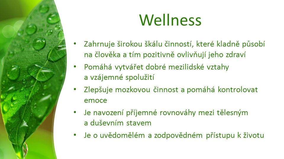Wellness Zahrnuje širokou škálu činností, které kladně působí na člověka a tím pozitivně ovlivňují jeho zdraví Pomáhá vytvářet dobré mezilidské vztahy a vzájemné spolužití Zlepšuje mozkovou činnost a pomáhá kontrolovat emoce Je navození příjemné rovnováhy mezi tělesným a duševním stavem Je o uvědomělém a zodpovědném přístupu k životu