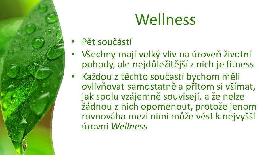 Wellness Pět součástí Všechny mají velký vliv na úroveň životní pohody, ale nejdůležitější z nich je fitness Každou z těchto součástí bychom měli ovlivňovat samostatně a přitom si všímat, jak spolu vzájemně souvisejí, a že nelze žádnou z nich opomenout, protože jenom rovnováha mezi nimi může vést k nejvyšší úrovni Wellness