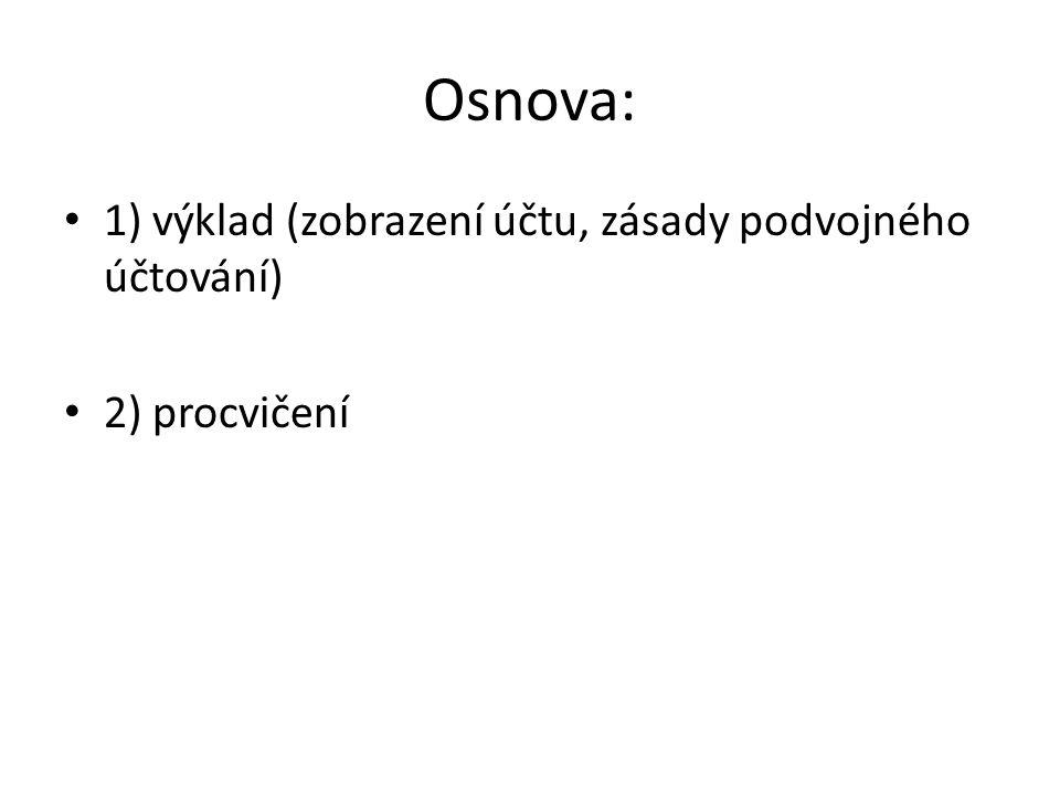 Osnova: 1) výklad (zobrazení účtu, zásady podvojného účtování) 2) procvičení