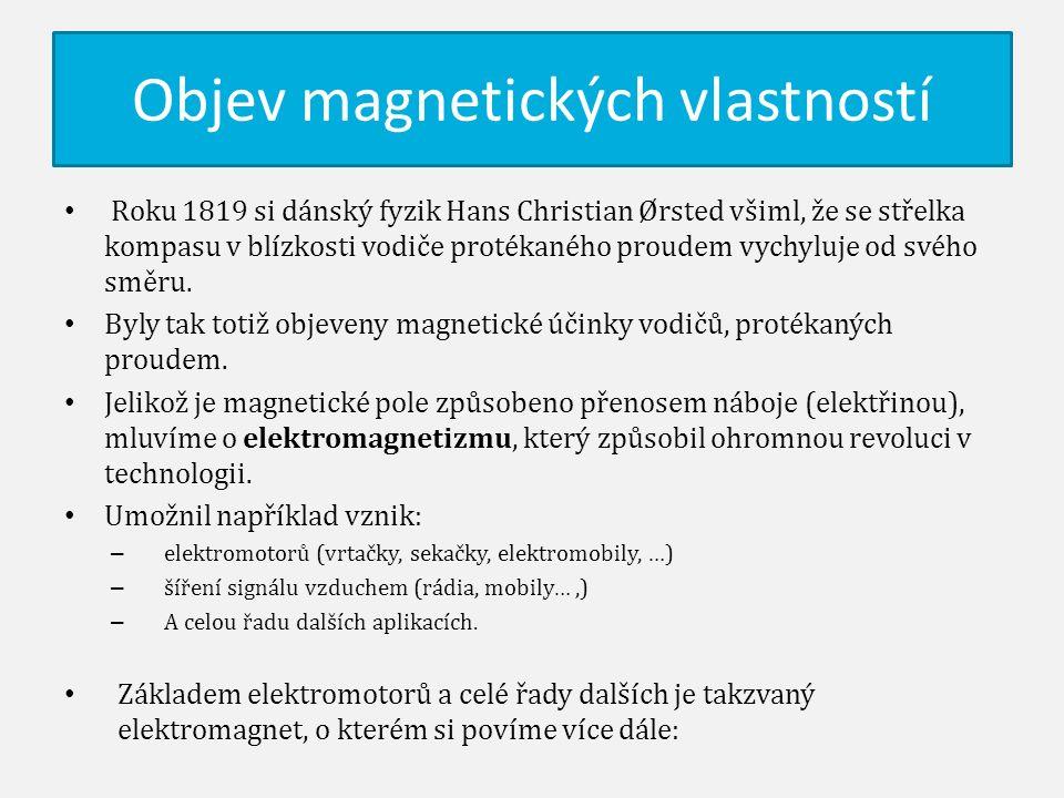 Objev magnetických vlastností Roku 1819 si dánský fyzik Hans Christian Ørsted všiml, že se střelka kompasu v blízkosti vodiče protékaného proudem vych