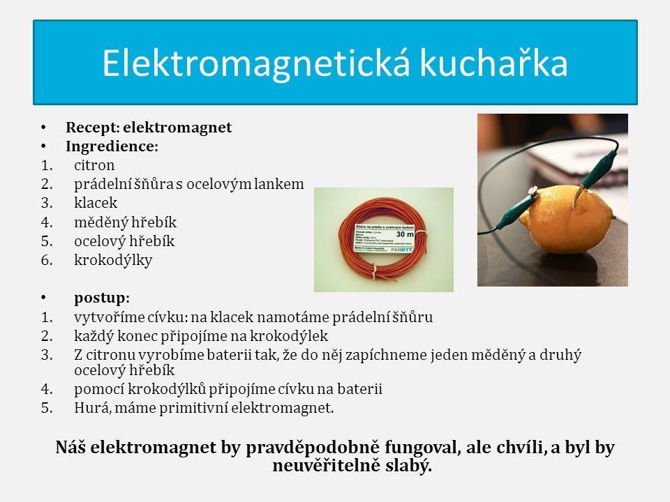Elektromagnetická kuchařka Recept: elektromagnet Ingredience: 1.citron 2.prádelní šňůra s ocelovým lankem 3.klacek 4.měděný hřebík 5.ocelový hřebík 6.