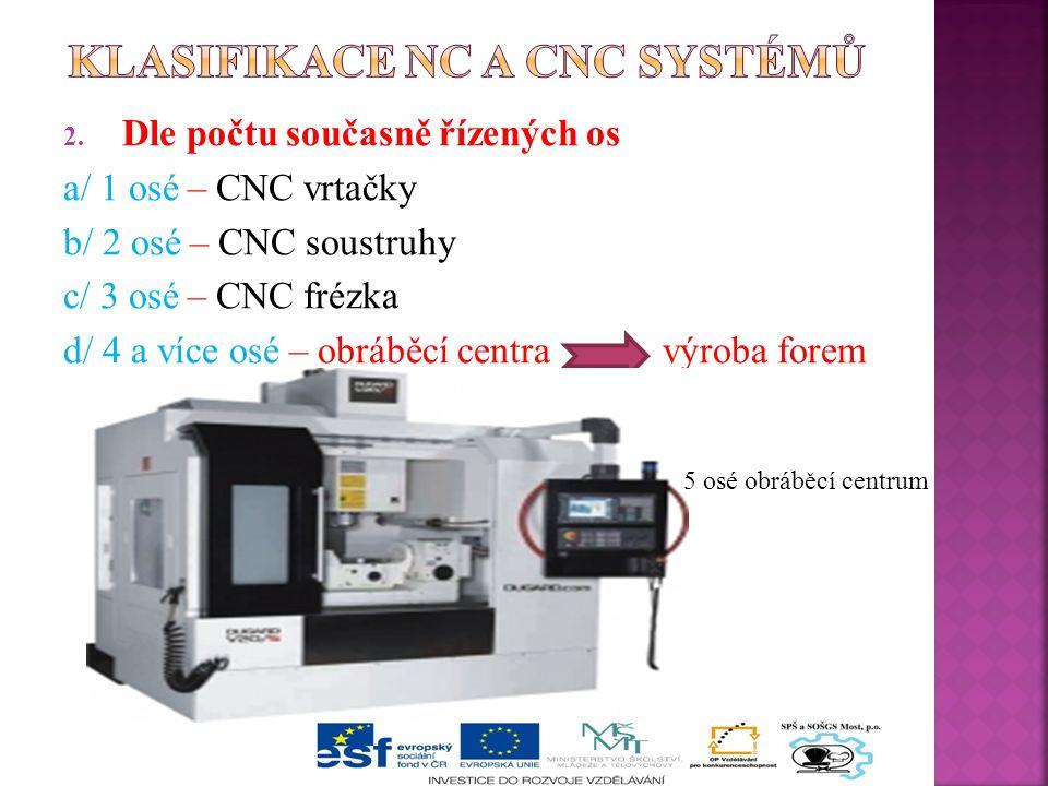 2. Dle počtu současně řízených os a/ 1 osé – CNC vrtačky b/ 2 osé – CNC soustruhy c/ 3 osé – CNC frézka d/ 4 a více osé – obráběcí centra výroba forem
