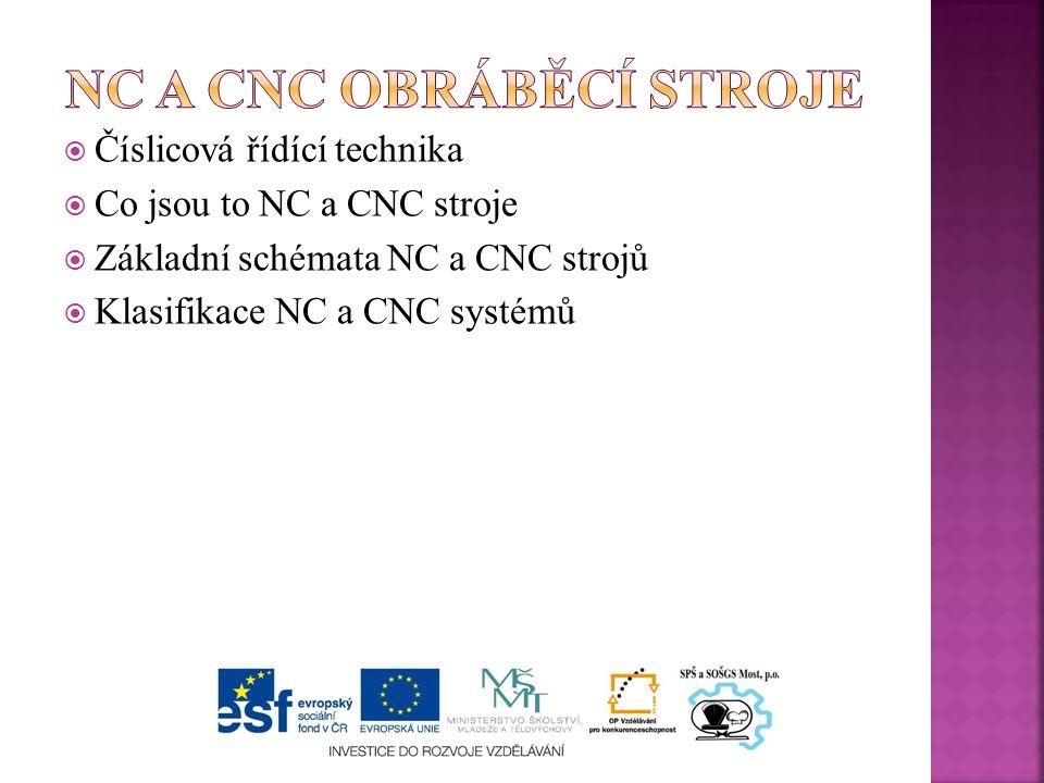  Číslicová řídící technika  Co jsou to NC a CNC stroje  Základní schémata NC a CNC strojů  Klasifikace NC a CNC systémů