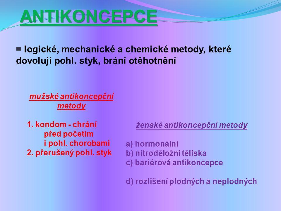 ANTIKONCEPCE = logické, mechanické a chemické metody, které dovolují pohl.