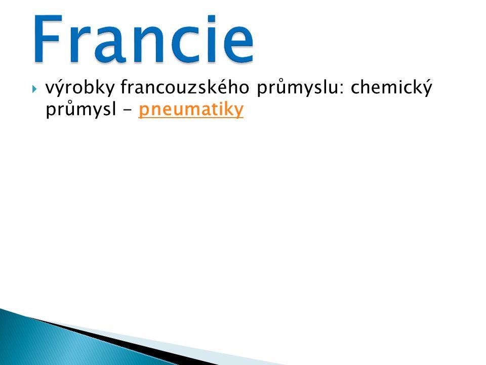  výrobky francouzského průmyslu: chemický průmysl - pneumatikypneumatiky