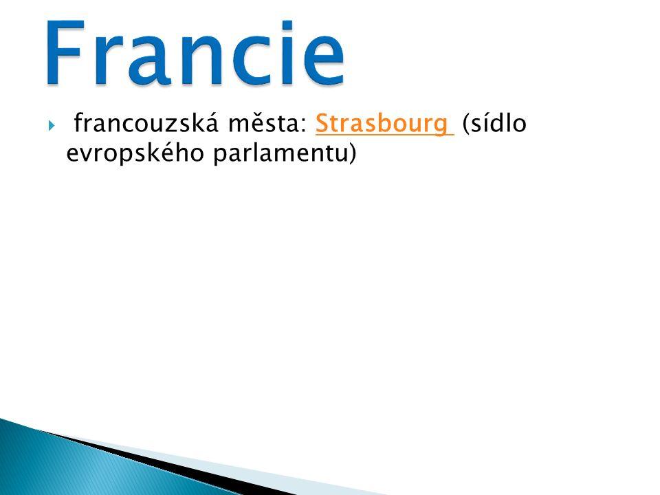  francouzská města: Strasbourg (sídlo evropského parlamentu)Strasbourg
