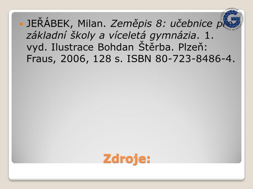 Zdroje: JEŘÁBEK, Milan. Zeměpis 8: učebnice pro základní školy a víceletá gymnázia. 1. vyd. Ilustrace Bohdan Štěrba. Plzeň: Fraus, 2006, 128 s. ISBN 8