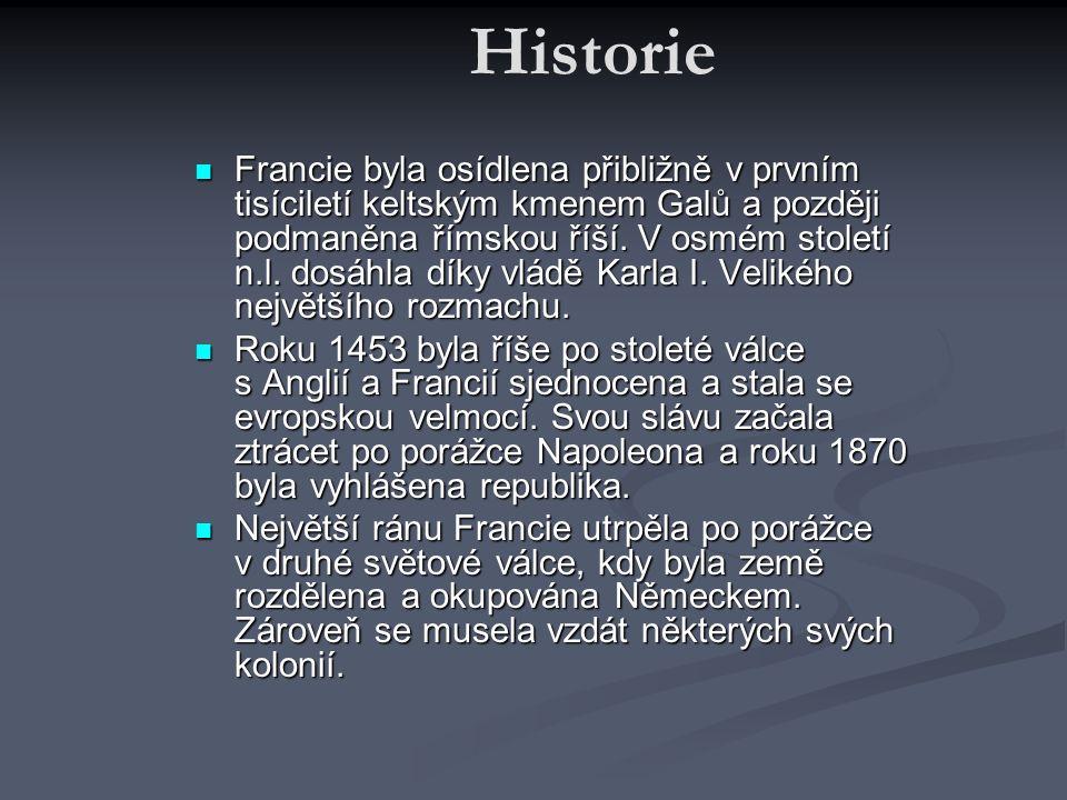 Historie Francie byla osídlena přibližně v prvním tisíciletí keltským kmenem Galů a později podmaněna římskou říší. V osmém století n.l. dosáhla díky