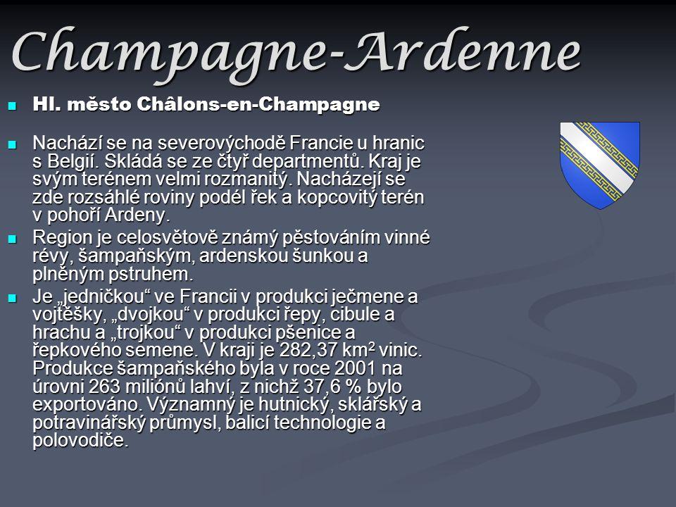 Champagne-Ardenne Hl. město Châlons-en-Champagne Hl. město Châlons-en-Champagne Nachází se na severovýchodě Francie u hranic s Belgií. Skládá se ze čt