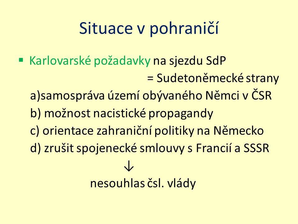 Situace v pohraničí  Karlovarské požadavky na sjezdu SdP = Sudetoněmecké strany a)samospráva území obývaného Němci v ČSR b) možnost nacistické propag