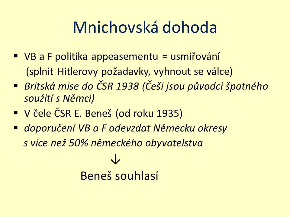 Mnichovská dohoda  VB a F politika appeasementu = usmiřování (splnit Hitlerovy požadavky, vyhnout se válce)  Britská mise do ČSR 1938 (Češi jsou pův