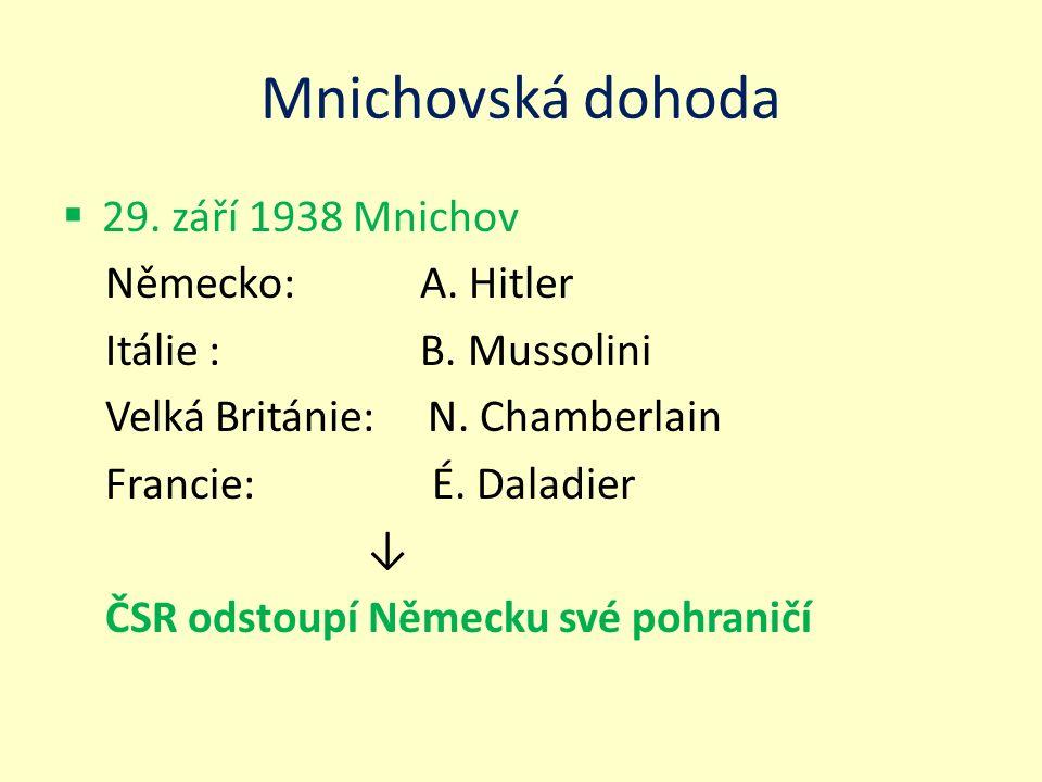 Mnichovská dohoda  29. září 1938 Mnichov Německo: A. Hitler Itálie : B. Mussolini Velká Británie: N. Chamberlain Francie: É. Daladier ↓ ČSR odstoupí
