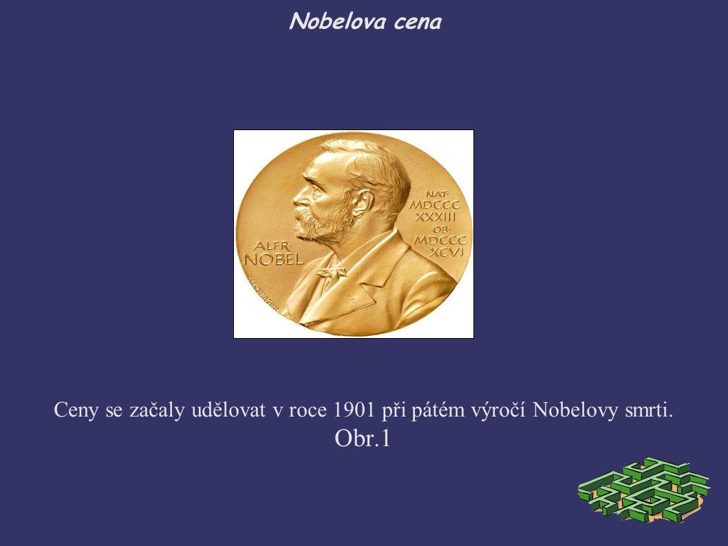 Nobelova cena Ceny se začaly udělovat v roce 1901 při pátém výročí Nobelovy smrti. Obr.1