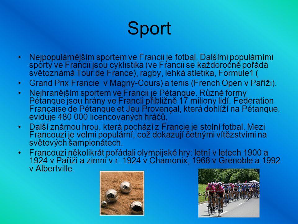 Sport Nejpopulárnějším sportem ve Francii je fotbal.