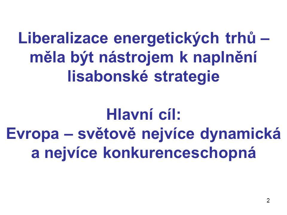 2 Liberalizace energetických trhů – měla být nástrojem k naplnění lisabonské strategie Hlavní cíl: Evropa – světově nejvíce dynamická a nejvíce konkurenceschopná
