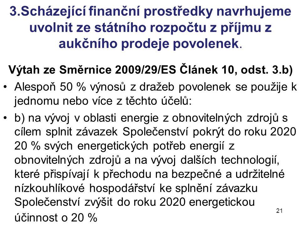 21 3.Scházející finanční prostředky navrhujeme uvolnit ze státního rozpočtu z příjmu z aukčního prodeje povolenek.