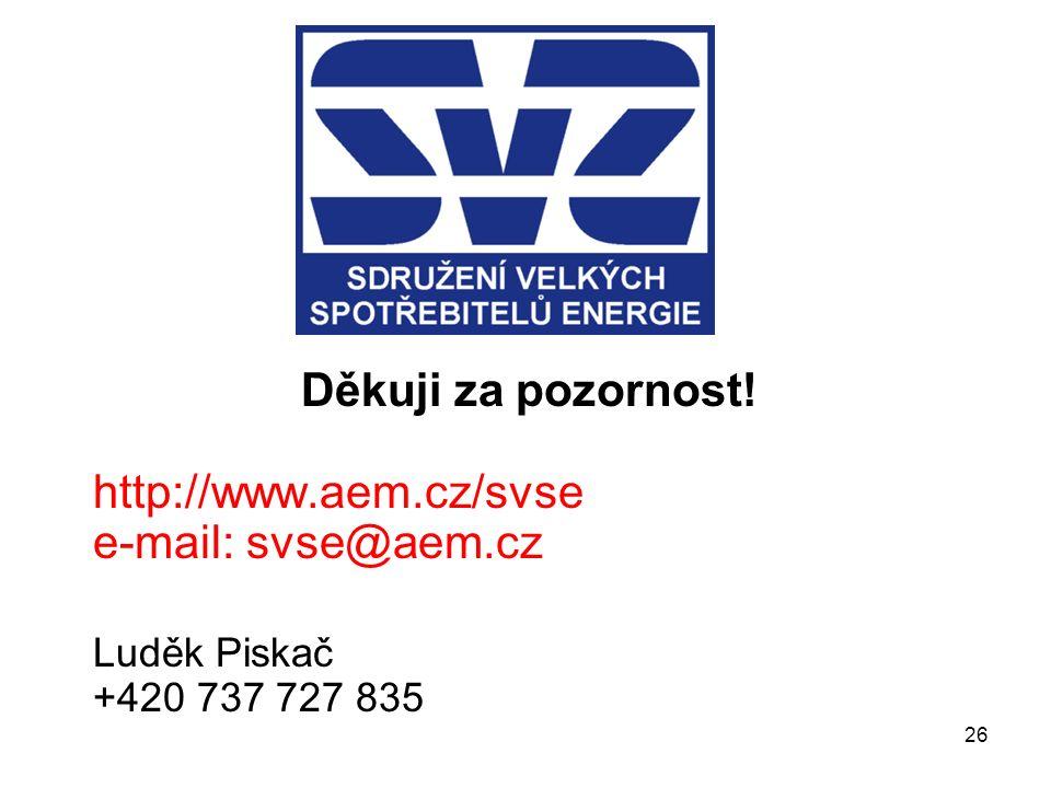 26 Děkuji za pozornost! http://www.aem.cz/svse e-mail: svse@aem.cz Luděk Piskač +420 737 727 835