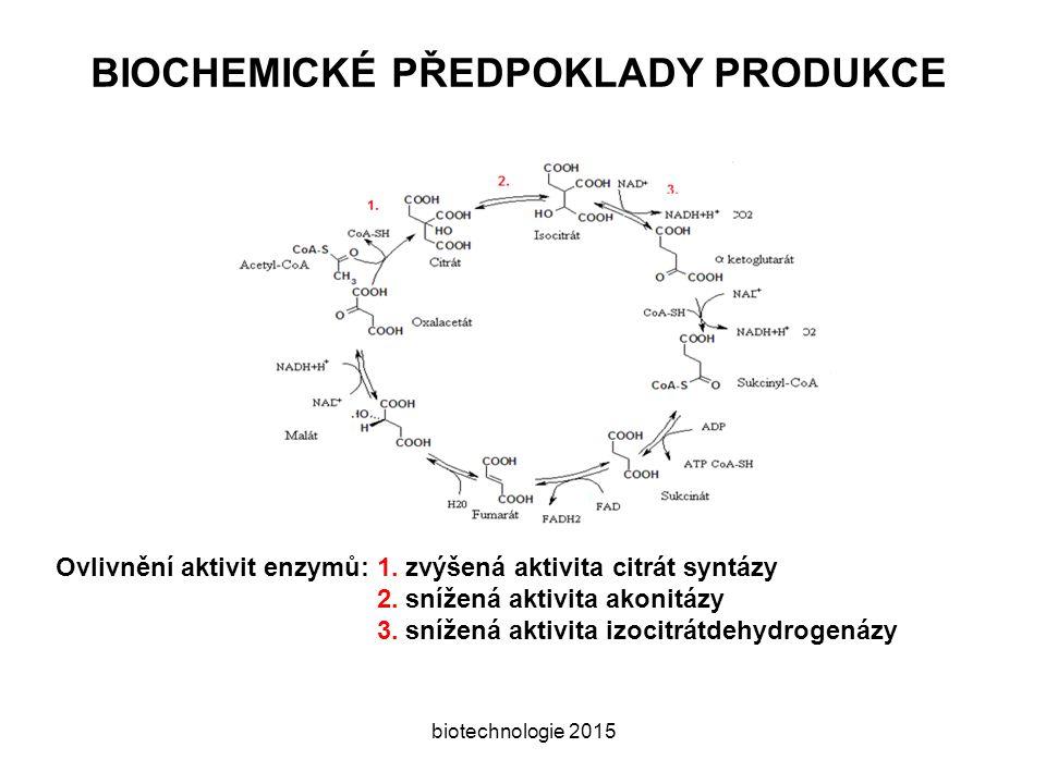 BIOCHEMICKÉ PŘEDPOKLADY PRODUKCE biotechnologie 2015 Ovlivnění aktivit enzymů: 1.