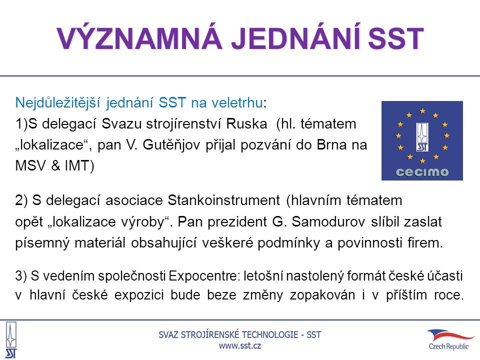 """VÝZNAMNÁ JEDNÁNÍ SST Nejdůležitější jednání SST na veletrhu: 1)S delegací Svazu strojírenství Ruska (hl. tématem """"lokalizace"""", pan V. Gutěňjov přijal"""