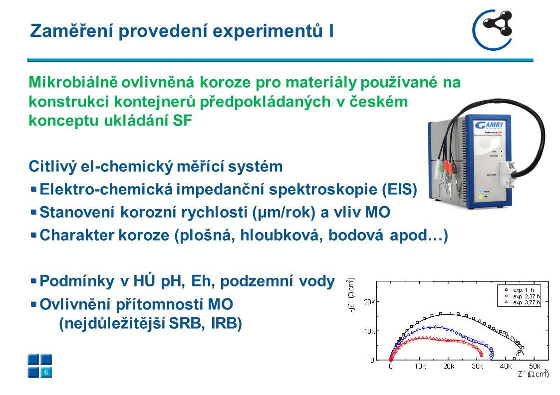 Zaměření provedení experimentů I 6 Mikrobiálně ovlivněná koroze pro materiály používané na konstrukci kontejnerů předpokládaných v českém konceptu ukládání SF Citlivý el-chemický měřící systém Elektro-chemická impedanční spektroskopie (EIS) Stanovení korozní rychlosti (μm/rok) a vliv MO Charakter koroze (plošná, hloubková, bodová apod…) Podmínky v HÚ pH, Eh, podzemní vody Ovlivnění přítomností MO (nejdůležitější SRB, IRB)