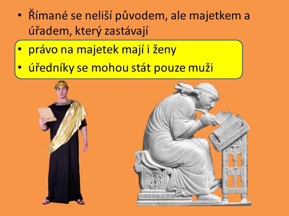 Římané se neliší původem, ale majetkem a úřadem, který zastávají právo na majetek mají i ženy úředníky se mohou stát pouze muži