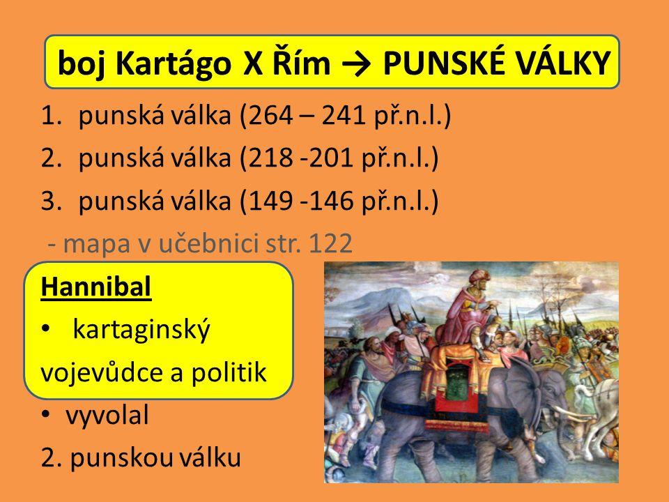 boj Kartágo X Řím → PUNSKÉ VÁLKY 1.punská válka (264 – 241 př.n.l.) 2.punská válka (218 -201 př.n.l.) 3.punská válka (149 -146 př.n.l.) - mapa v učebnici str.