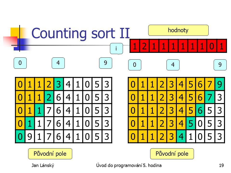 Jan LánskýÚvod do programování 5. hodina19 Counting sort II 0112341053 0112641053 0117641053 0117641053 0917641053 0112345679 0112345673 0112345653 01