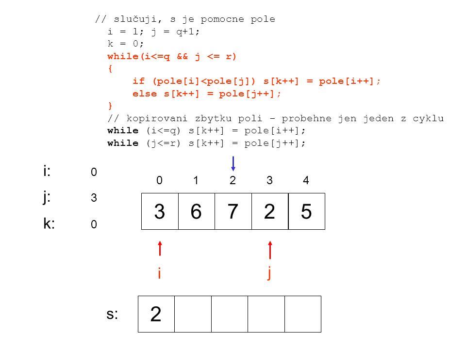 36725 0 1 2 34 i j i:i: 0 j:j: 3 // slučuji, s je pomocne pole i = l; j = q+1; k = 0; while(i<=q && j <= r) { if (pole[i]<pole[j]) s[k++] = pole[i++]; else s[k++] = pole[j++]; } // kopirovani zbytku poli - probehne jen jeden z cyklu while (i<=q) s[k++] = pole[i++]; while (j<=r) s[k++] = pole[j++]; k:k: 0 2 s: