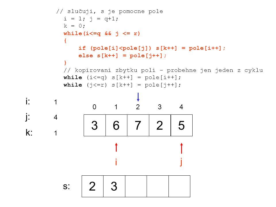 36725 0 1 2 34 i j i:i: 1 j:j: 4 // slučuji, s je pomocne pole i = l; j = q+1; k = 0; while(i<=q && j <= r) { if (pole[i]<pole[j]) s[k++] = pole[i++]; else s[k++] = pole[j++]; } // kopirovani zbytku poli - probehne jen jeden z cyklu while (i<=q) s[k++] = pole[i++]; while (j<=r) s[k++] = pole[j++]; k:k: 1 23 s: