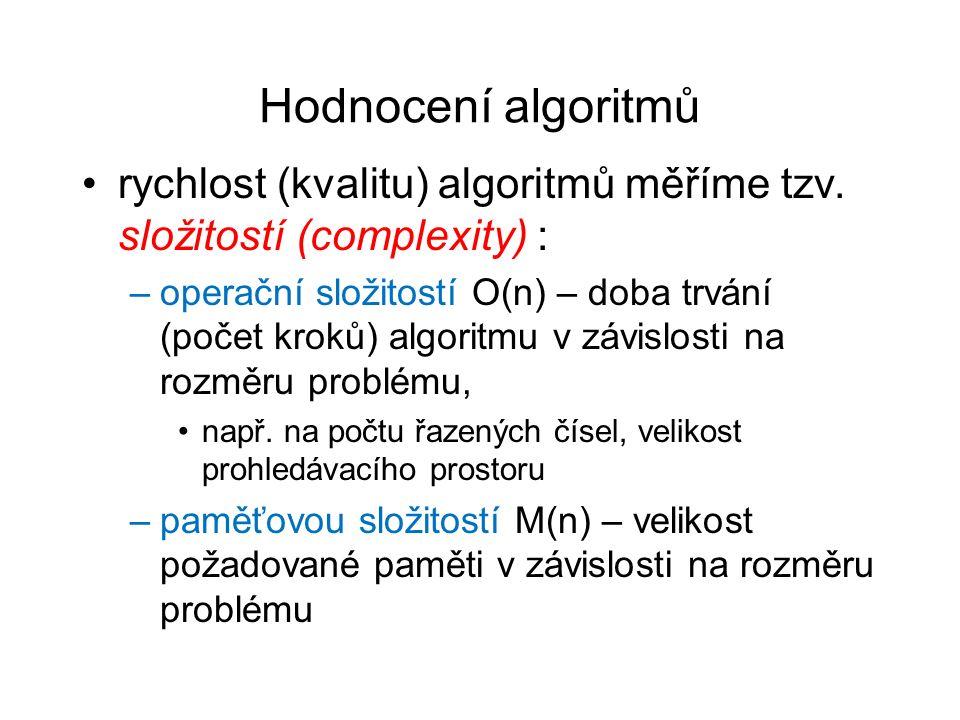Hodnocení algoritmů rychlost (kvalitu) algoritmů měříme tzv.