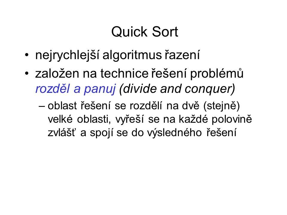 Quick Sort nejrychlejší algoritmus řazení založen na technice řešení problémů rozděl a panuj (divide and conquer) –oblast řešení se rozdělí na dvě (stejně) velké oblasti, vyřeší se na každé polovině zvlášť a spojí se do výsledného řešení