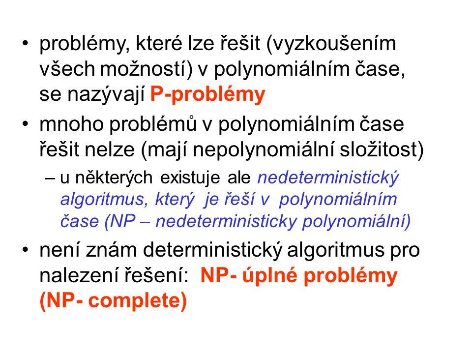 problémy, které lze řešit (vyzkoušením všech možností) v polynomiálním čase, se nazývají P-problémy mnoho problémů v polynomiálním čase řešit nelze (mají nepolynomiální složitost) –u některých existuje ale nedeterministický algoritmus, který je řeší v polynomiálním čase (NP – nedeterministicky polynomiální) není znám deterministický algoritmus pro nalezení řešení: NP- úplné problémy (NP- complete)