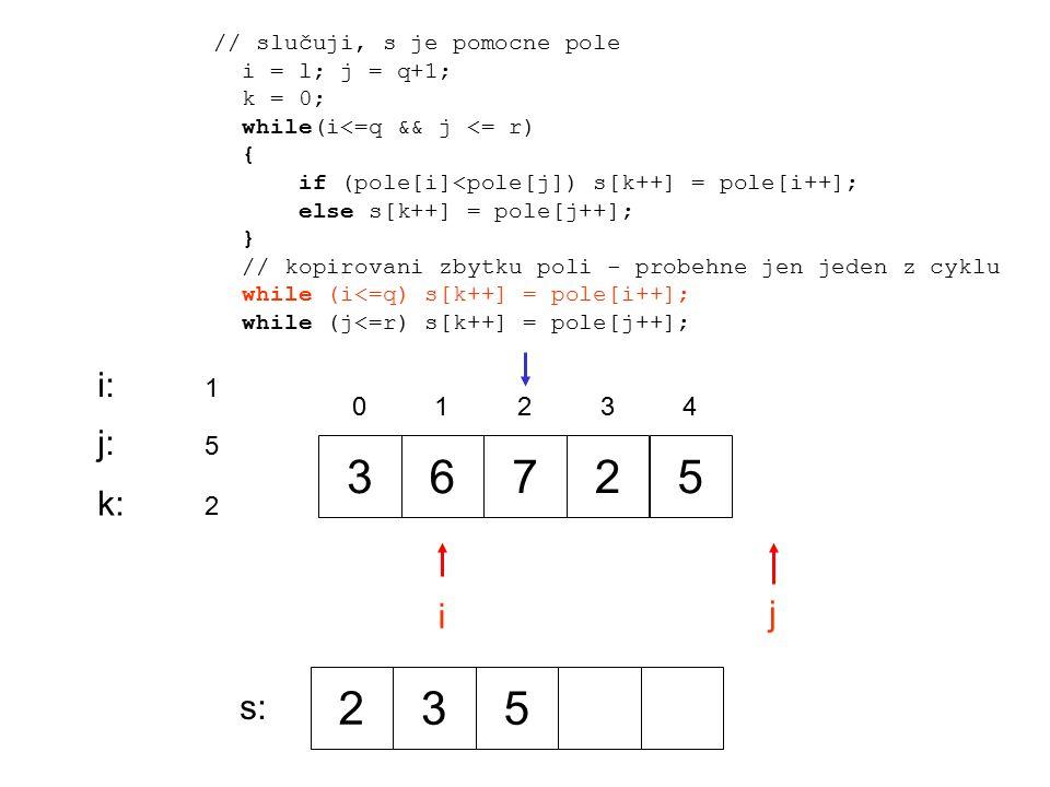 36725 0 1 2 34 i j i:i: 1 j:j: 5 // slučuji, s je pomocne pole i = l; j = q+1; k = 0; while(i<=q && j <= r) { if (pole[i]<pole[j]) s[k++] = pole[i++]; else s[k++] = pole[j++]; } // kopirovani zbytku poli - probehne jen jeden z cyklu while (i<=q) s[k++] = pole[i++]; while (j<=r) s[k++] = pole[j++]; k:k: 2 235 s: