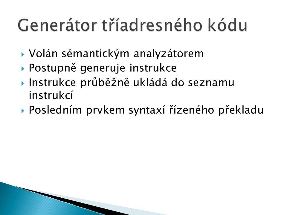  Volán sémantickým analyzátorem  Postupně generuje instrukce  Instrukce průběžně ukládá do seznamu instrukcí  Posledním prvkem syntaxí řízeného překladu