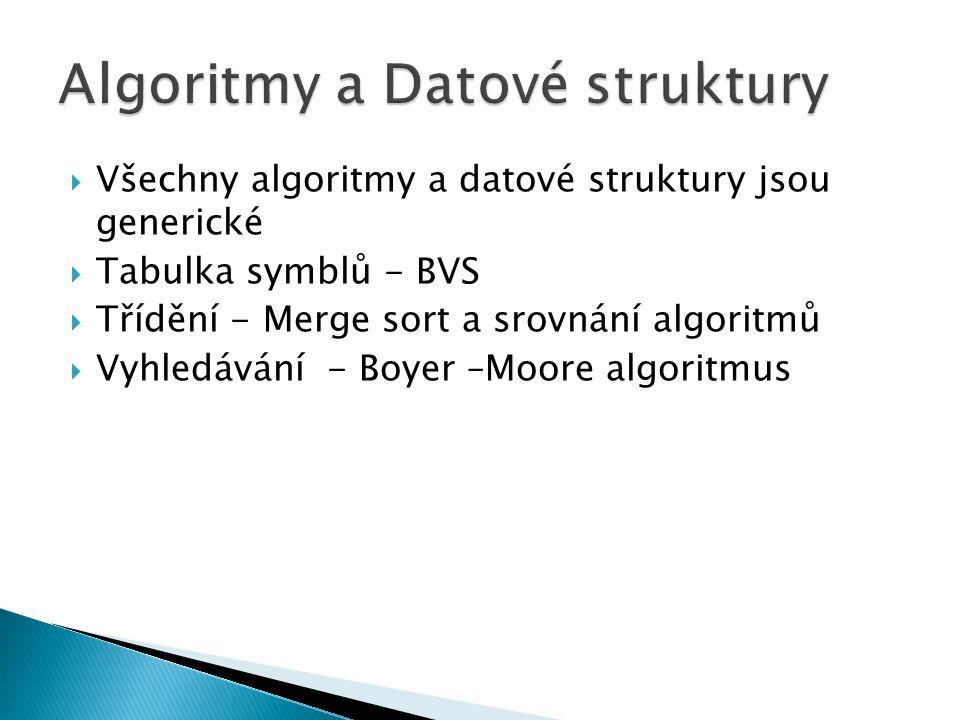  Všechny algoritmy a datové struktury jsou generické  Tabulka symblů - BVS  Třídění - Merge sort a srovnání algoritmů  Vyhledávání - Boyer –Moore algoritmus
