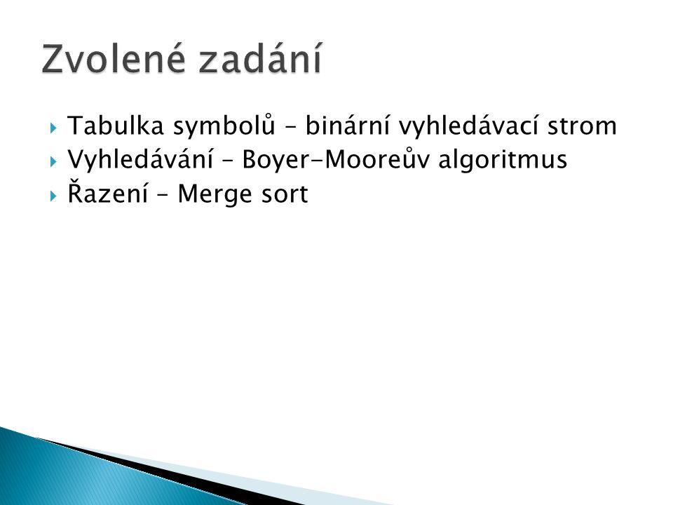  Tabulka symbolů – binární vyhledávací strom  Vyhledávání – Boyer-Mooreův algoritmus  Řazení – Merge sort