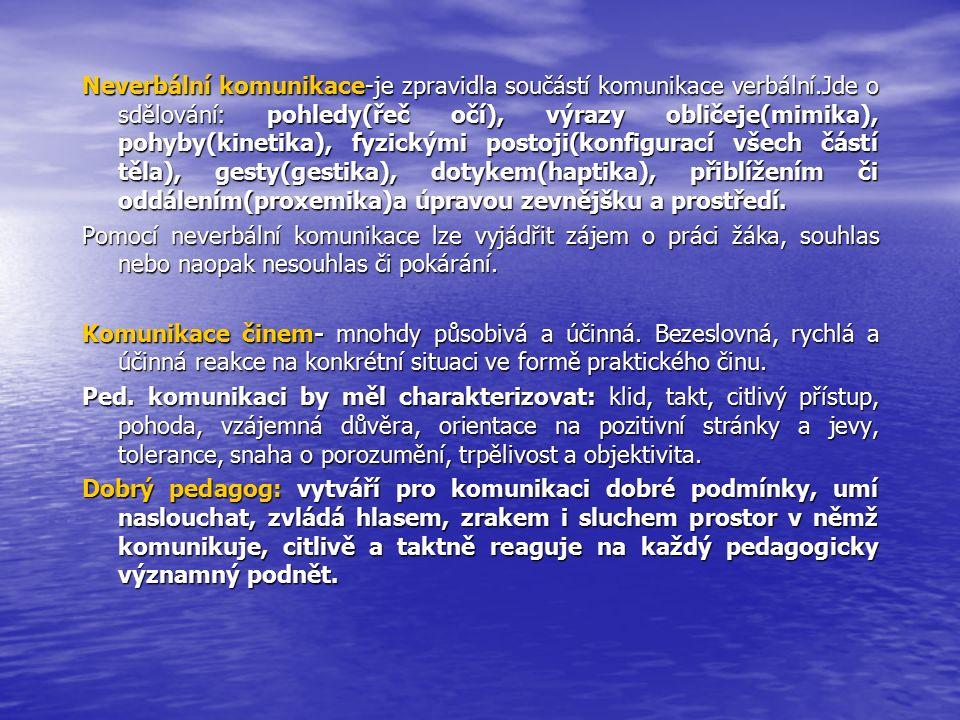 Neverbální komunikace-je zpravidla součástí komunikace verbální.Jde o sdělování: pohledy(řeč očí), výrazy obličeje(mimika), pohyby(kinetika), fyzickými postoji(konfigurací všech částí těla), gesty(gestika), dotykem(haptika), přiblížením či oddálením(proxemika)a úpravou zevnějšku a prostředí.