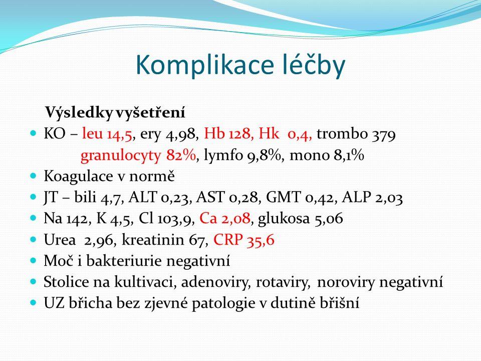 Komplikace léčby Stav při přijetí: váha 56,5 kg (-0,8 kg), výška 184 cm TT 36,0 st.C astenický, bledý, akné v obličeji kardiopulmonální nález v normě břicho difusně palp.