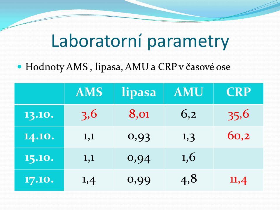 Komplikace léčby Výsledky vyšetření KO – leu 14,5, ery 4,98, Hb 128, Hk 0,4, trombo 379 granulocyty 82%, lymfo 9,8%, mono 8,1% Koagulace v normě JT – bili 4,7, ALT 0,23, AST 0,28, GMT 0,42, ALP 2,03 Na 142, K 4,5, Cl 103,9, Ca 2,08, glukosa 5,06 Urea 2,96, kreatinin 67, CRP 35,6 Moč i bakteriurie negativní Stolice na kultivaci, adenoviry, rotaviry, noroviry negativní UZ břicha bez zjevné patologie v dutině břišní