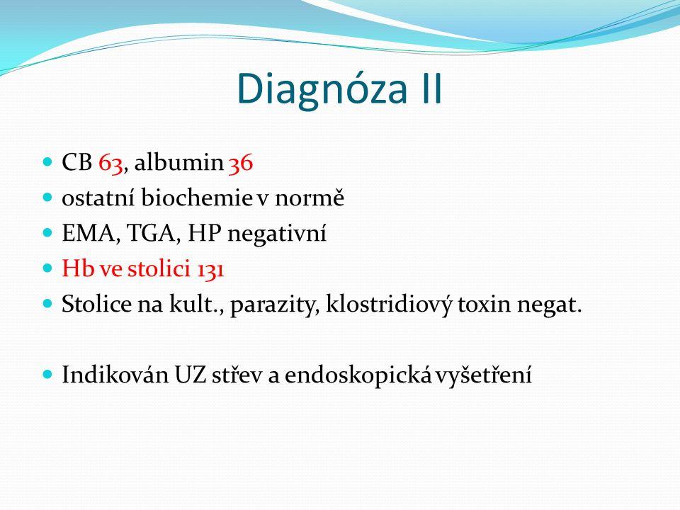 Diagnóza NO: V polovině 7/15 průjmové stolice lx denně bez příměsí, symptomatická léčba 8/15 vyšetřen u OL – hypochromní mikrocytární anémie, CRP 83 6.8.
