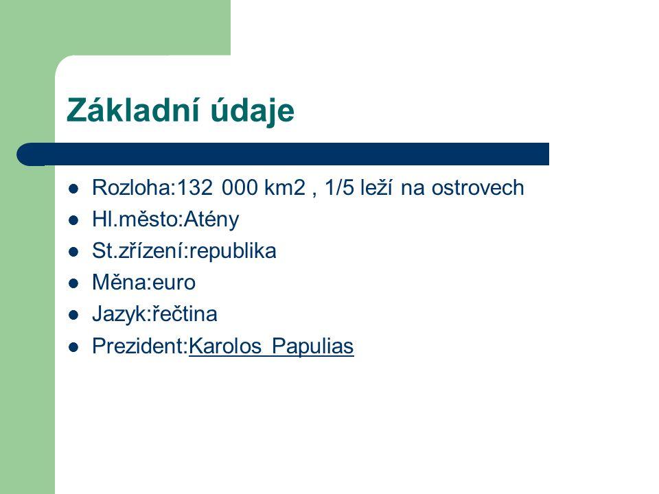 Základní údaje Rozloha:132 000 km2, 1/5 leží na ostrovech Hl.město:Atény St.zřízení:republika Měna:euro Jazyk:řečtina Prezident:Karolos PapuliasKarolos Papulias