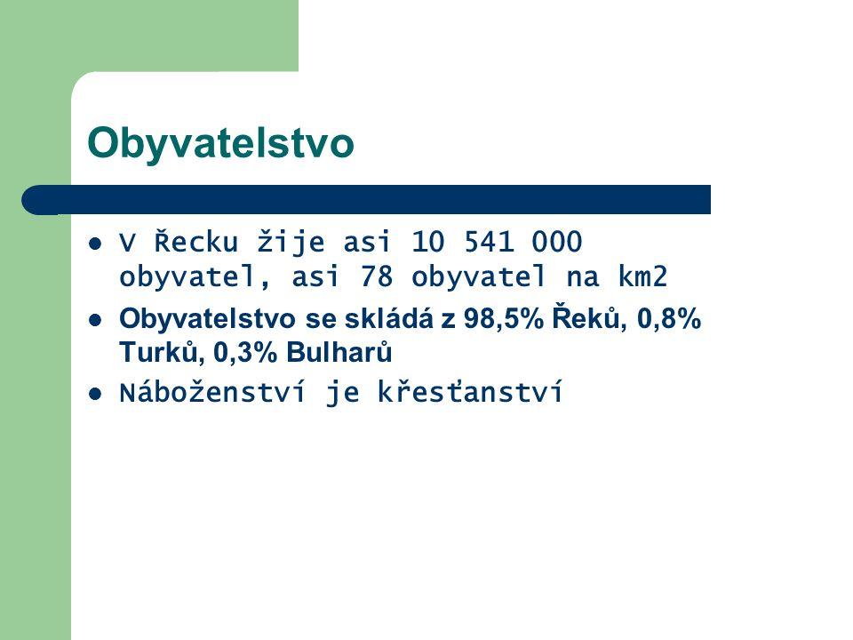 Obyvatelstvo V Řecku žije asi 10 541 000 obyvatel, asi 78 obyvatel na km2 Obyvatelstvo se skládá z 98,5% Řeků, 0,8% Turků, 0,3% Bulharů Náboženství je křesťanství