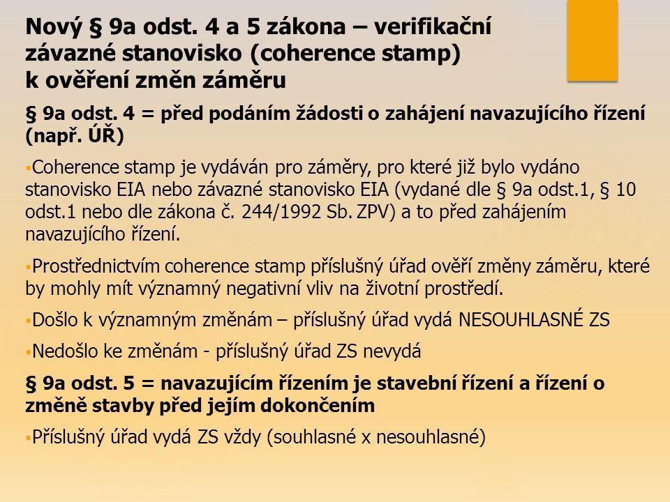 Nový § 9a odst. 4 a 5 zákona – verifikační závazné stanovisko (coherence stamp) k ověření změn záměru § 9a odst. 4 = před podáním žádosti o zahájení n