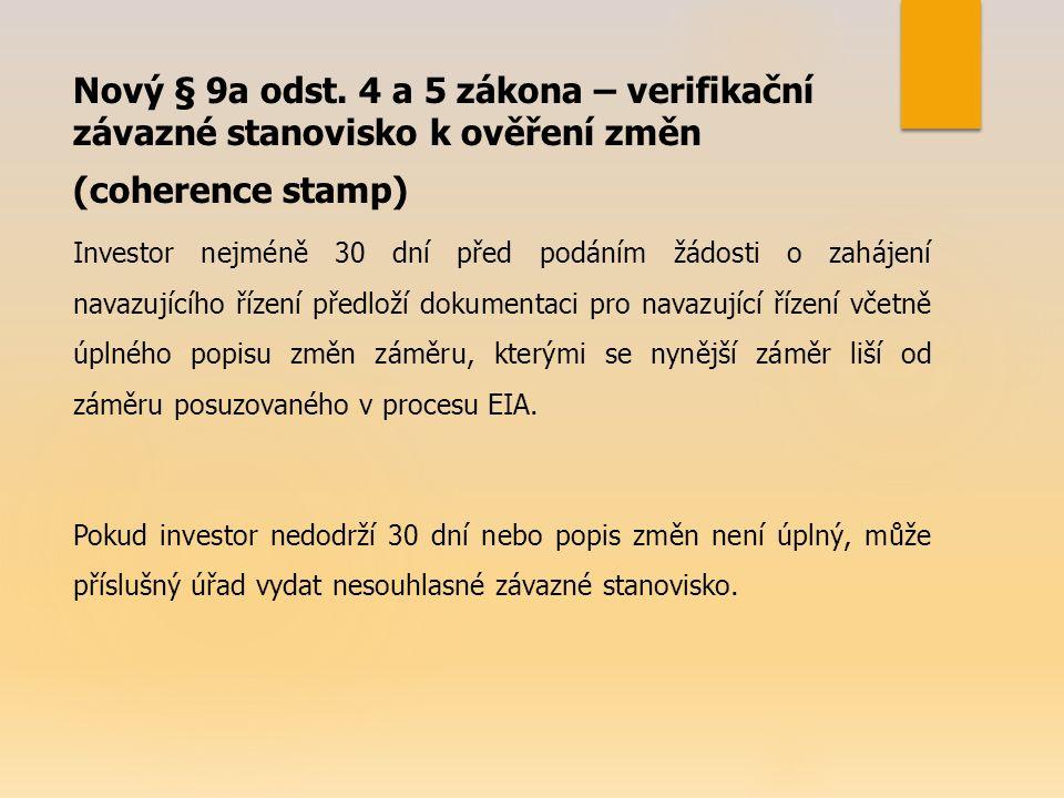 Nový § 9a odst. 4 a 5 zákona – verifikační závazné stanovisko k ověření změn (coherence stamp) Investor nejméně 30 dní před podáním žádosti o zahájení