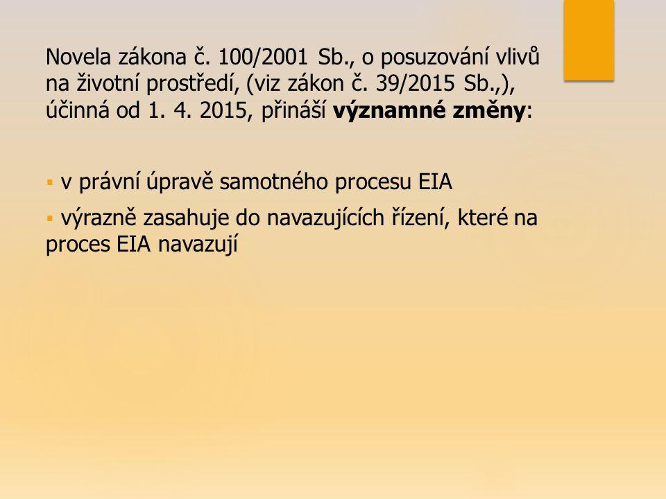 Novela zákona č. 100/2001 Sb., o posuzování vlivů na životní prostředí, (viz zákon č. 39/2015 Sb.,), účinná od 1. 4. 2015, přináší významné změny:  v