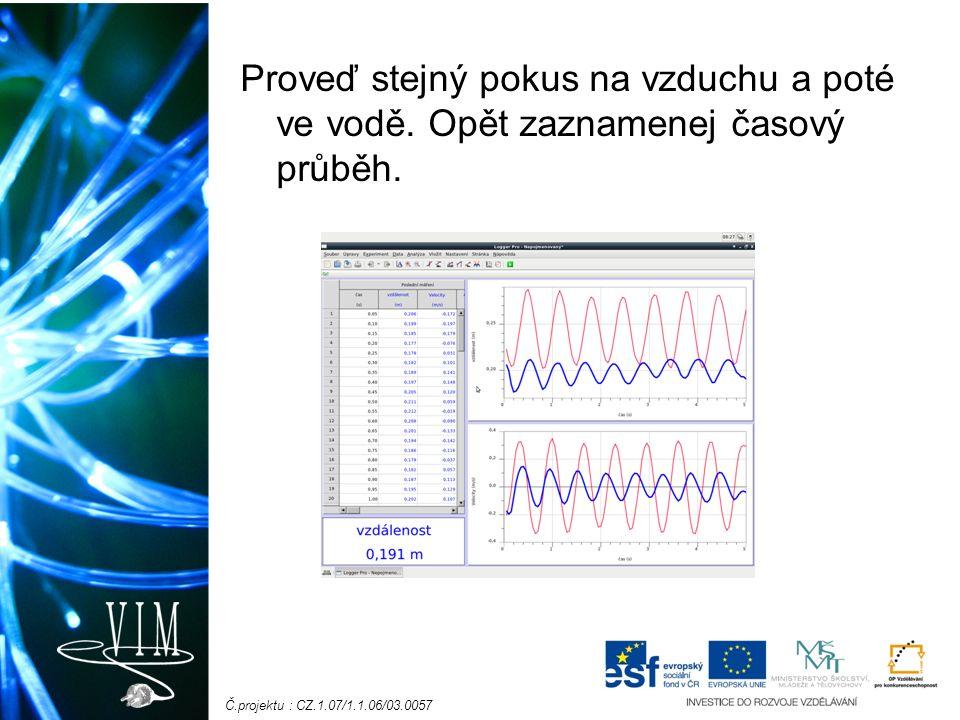 Č.projektu : CZ.1.07/1.1.06/03.0057 Proveď stejný pokus na vzduchu a poté ve vodě.